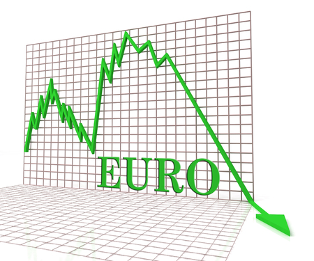 foreign currency: Euro Graph Negative Representing Foreign Currency And Crisis 3d Rendering