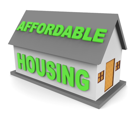 afford: Affordable Housing Representing Homes Houses And Residence 3d Rendering