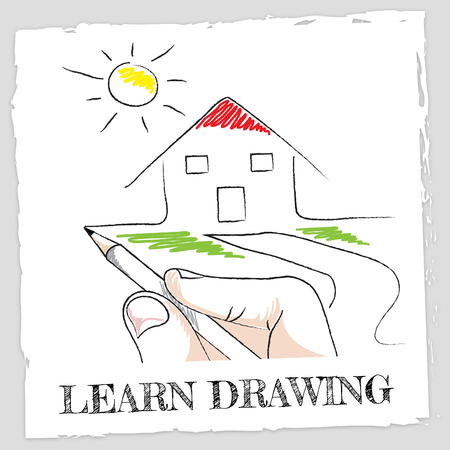 schooling: Learn Drawing Showing Schooling Sketch And Designer Stock Photo