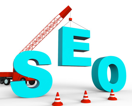search engines: Build Seo Meaning Search Engines And Optimize 3d Rendering Stock Photo