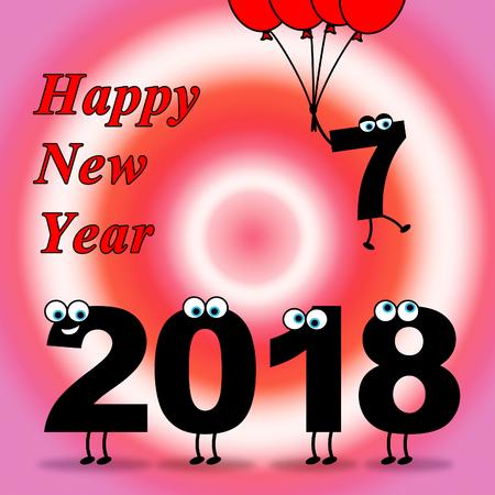 eighteen: Twenty Eighteen Representing Happy New Year And Celebrate