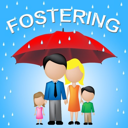 fostering: Fostering Family Showing Adoption Parasol And Guardianship