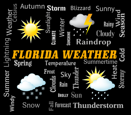 forecasts: Florida Weather Representing Meteorological Conditions And Climate Stock Photo