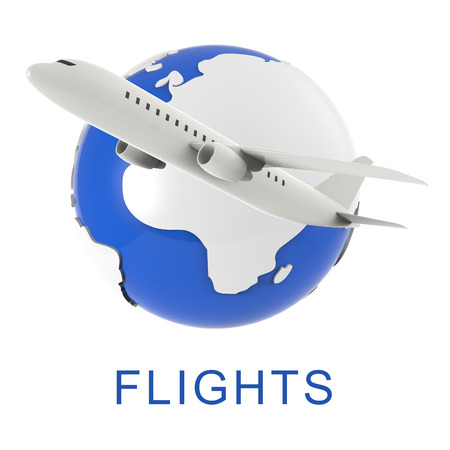 travelled: Airplane Flights Representing Travel Guide And Travelled 3d Rendering