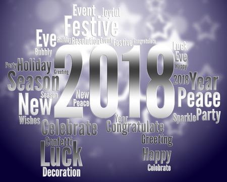 eighteen: Twenty Eighteen Showing Happy New Year And Celebrate