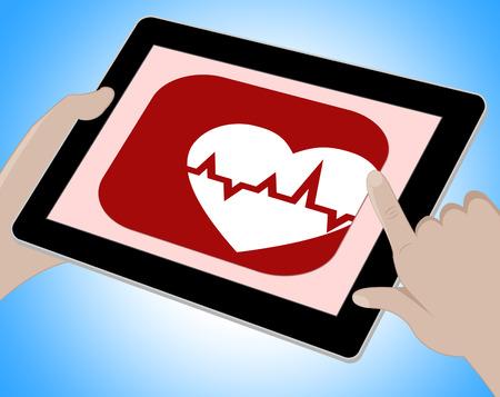 electrocardiograma: El latido del corazón en línea Traza Mostrando pulso y monitor Foto de archivo