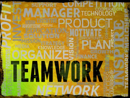 organized unit: Teamwork Words Showing Combined Teams And Unit Stock Photo