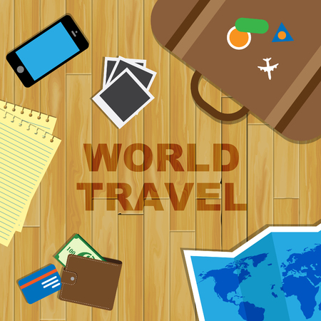 travelled: World Travel Representing Touring Travelled And Trips Stock Photo