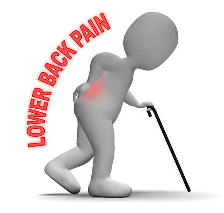 lower back pain: Lower Back Pain Meaning Spinal Column And Throbbing 3d Rendering