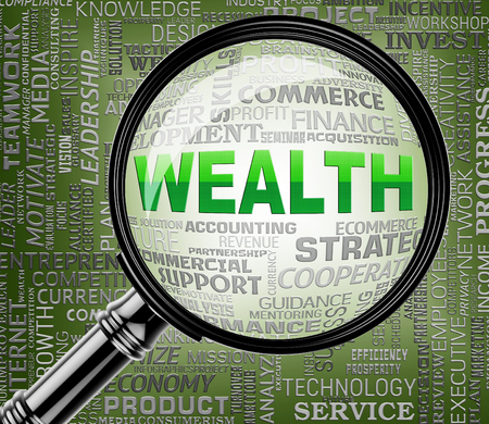 affluence: Wealth Magnifier Showing Riches Prosperous And Searches