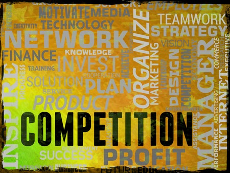 adversaries: Competition Words Representing Rival Opponents And Challenger Stock Photo