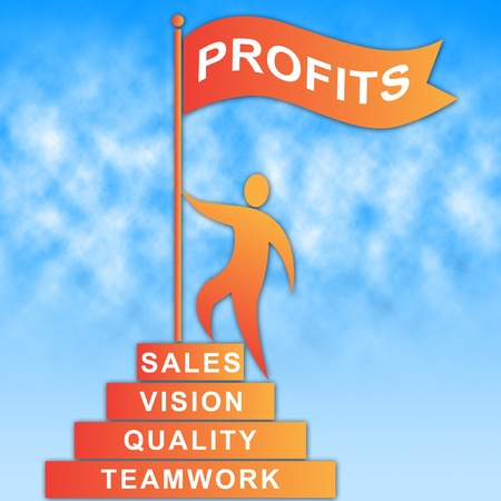 earns: Profits Flag Representing Revenue Earns And Investment Stock Photo