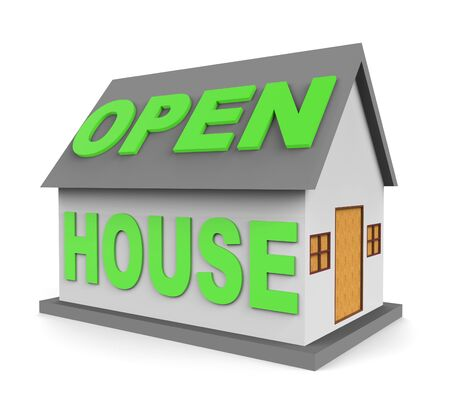open house: Open House Meaning Real Estate And Rent 3d Rendering Stock Photo