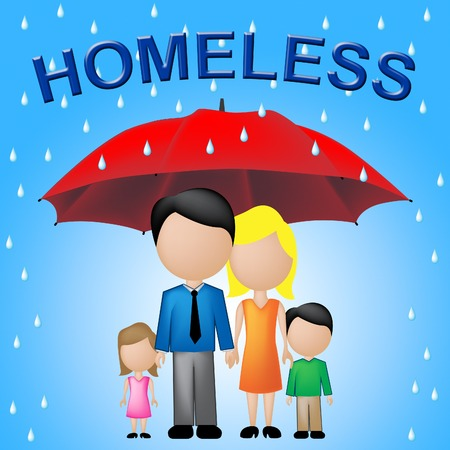 destitution: Homeless Family Indicating Destitution Household And Abandoned Stock Photo