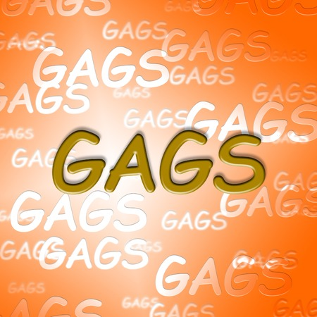 chuckle: Gags Words Showing Witty Laughter And Ha