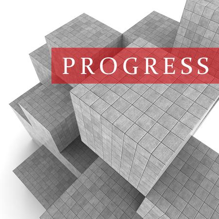 progression: Progress Blocks Meaning Improvement Progression And Growth 3d Rendering