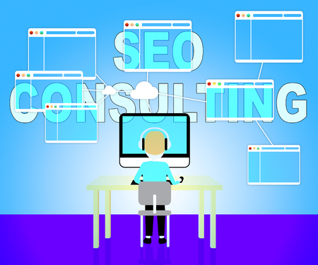 confer: Seo Consulting Indicating Turn To And Internet Stock Photo