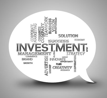 buy shares: Investment Bubble Indicating Stock Dialog And Speech