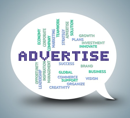 advertise: Advertise Bubble Meaning Promoting Message And Adverts Stock Photo