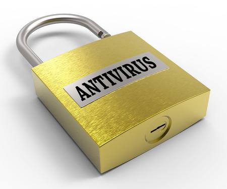 antivirus: Antivirus Padlock Indicating Malicious Software And Unsafe 3d Rendering