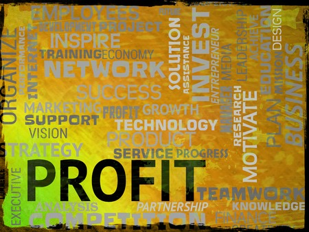 profiting: Profit Words Representing Investment Success And Lucrative
