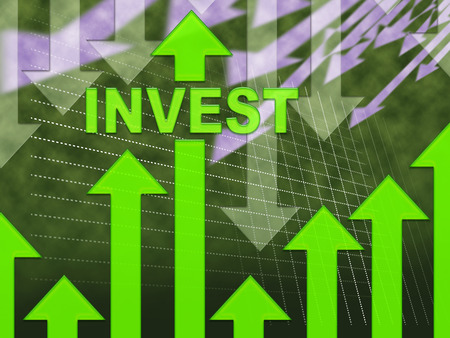 buy shares: Invest Graph Showing Return On Investment And Investments Stock Photo