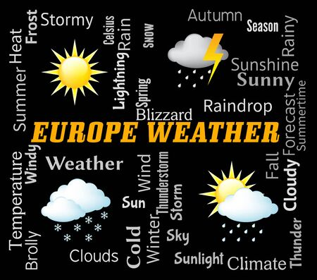 meteorological: Europe Weather Indicating Meteorological Conditions And Temperature Stock Photo