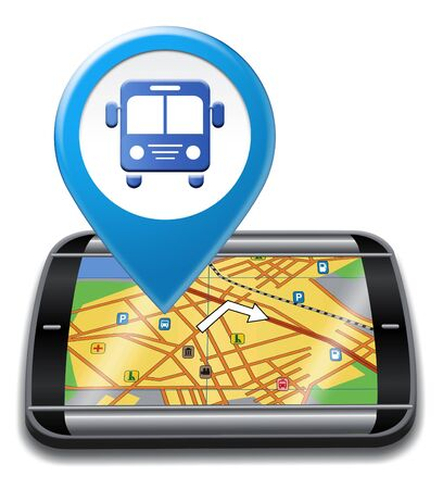 distance: Bus Gps Showing Location Direction And Distance Stock Photo