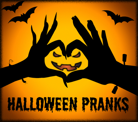 hoax: Halloween Pranks Representing Trick Or Treat And Frolic Hoax