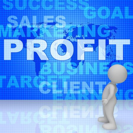Profit Words Representing Income Growth 3d Rendering Stock Photo
