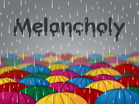 melancholia: Melancholy Rain Representing Misery Gloominess And Shower Stock Photo