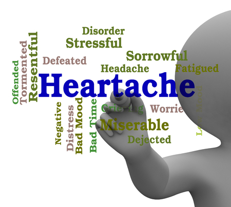 misery: Heartache Word Showing Wordcloud Sadness 3d Rendering