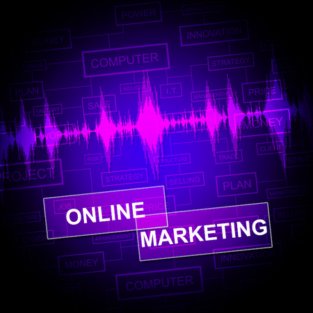 marketing online: Online Marketing Showing E-Commerce Promotions And E-Marketing Stock Photo