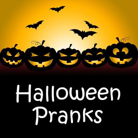 pranks: Halloween Pranks Indicating Trick Or Treat And Frolic Joke