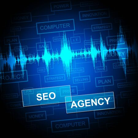 optimizer: Seo Agency Indicating Search Engine And Internet Stock Photo