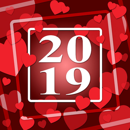 nineteen: Two Thousand Nineteen Meaning Heart Shape And 2019 Stock Photo