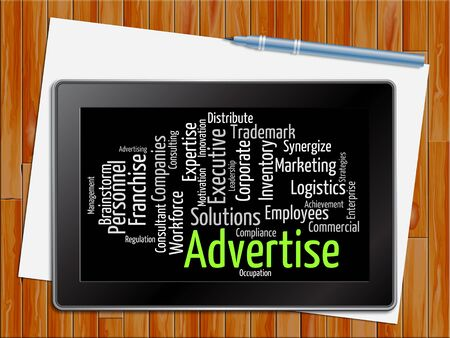 promoting: Advertise Word Representing Text Wordcloud And Promoting Tablet
