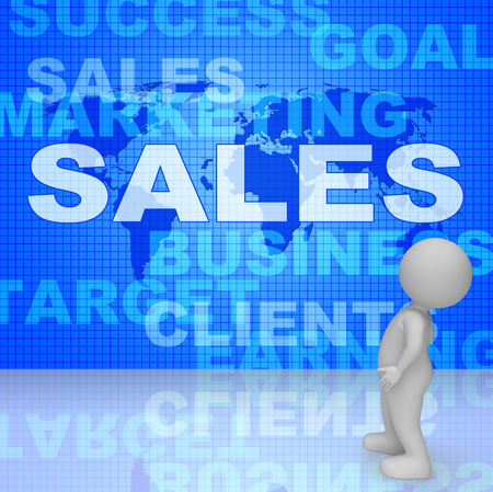 Sales Words Showing Selling Biz 3d Rendering
