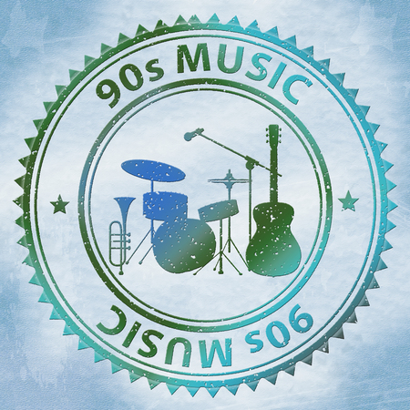 the nineties: Nineties Music Indicating Sound Track And Soundtrack Stock Photo