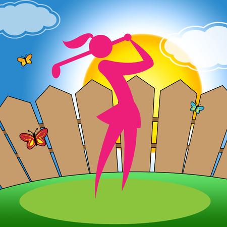 woman golf: Golf Swing Woman Representing Fairway Golf-Club And Women