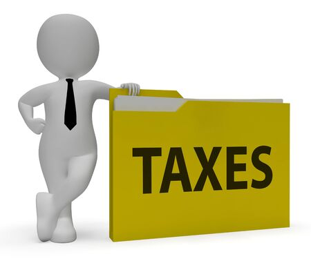 excise: Taxes Folder Meaning Duty File 3d Rendering