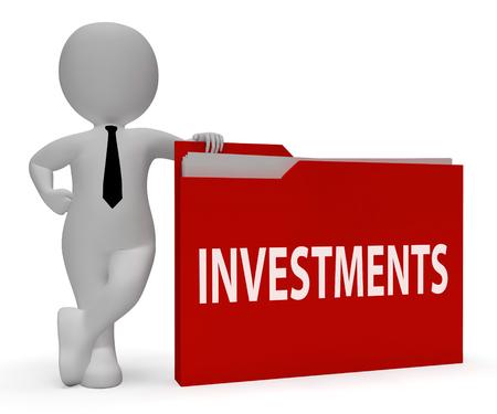 Investments Folder Representing Investing Paperwork 3d Rendering
