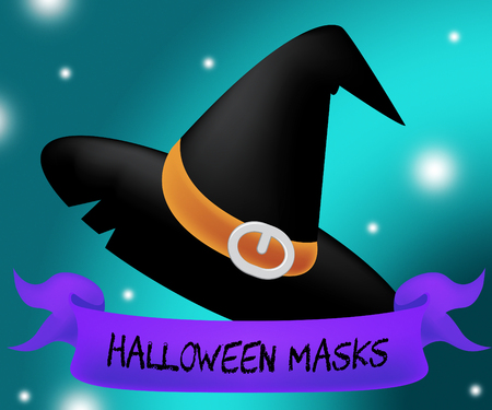 masque: Halloween Masks Showing Trick Or Treat And Fancy Dress Stock Photo