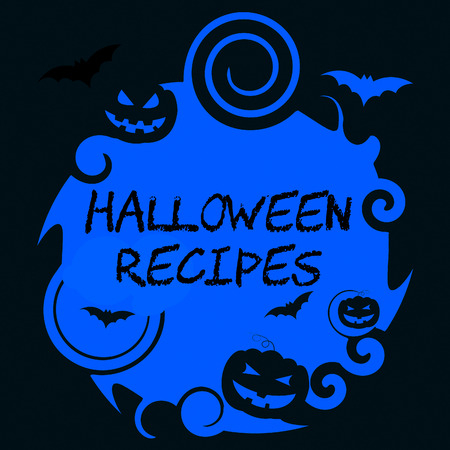 food preparation: Halloween Recipes Showing Trick Or Treat And Food Preparation Stock Photo