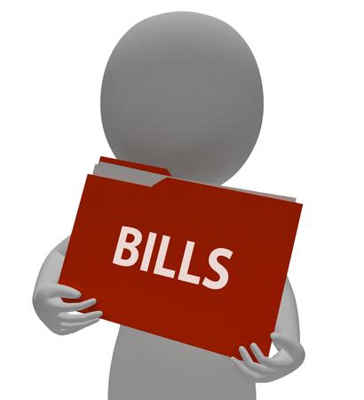 accounts payable: Bills Folder Indicating Organization Binder 3d Rendering