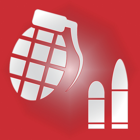 Hand Grenade Bullets Showing Murder Explosive And Ammunition Stock Photo
