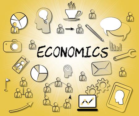 economizing: Economics Icons Meaning Finance Economy And Monetary