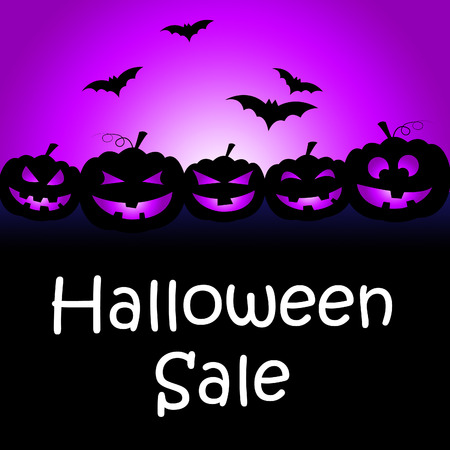 Halloween Sale Showing Trick Or Treat And Celebration Rebate Stock Photo