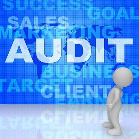 verification and validation: Audit Words Showing Auditing Auditor 3d Rendering