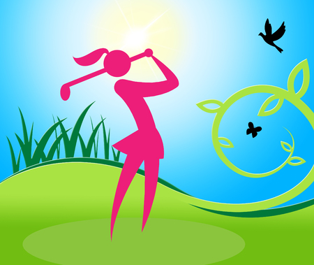 Golf Swing Woman Meaning Challenge Golf-Club And Lady